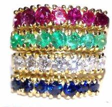 Fabulous! 18K Yellow Gold 4 Row Sapphire Ruby Emerald VS Diamond Wide Ring