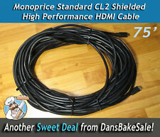 HDMI Monoprice Standard CL2 Shielded High Performance 26AWG HDMI Cable 75'
