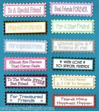 12 Special Friends, Best Friends Greeting Card Craft Sentiment Banners Tags