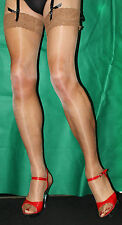 Fabulous Just Tan Large 15 Denier Luxury Lace Top Satin Sheen  Stockings