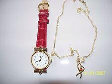 Montre femme LIP bracelet simili cuir croco rouge + collier  NEUVE sous blister