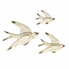 SET OF 3 FLYING SWALLOW WALL DECORATIONS VINTAGE CREAM SASS & BELLE