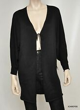 Nwt $128 Tahari GUNTHER Cotton Blend Knit Sweater Tie Cardigan Top ~Black XS