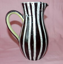 GORGEOUS VINTAGE STRIPED BROWN & WHITE DENBY STONE WARE ENGLAND POTTERY PITCHER