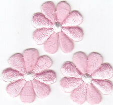 """SET OF 3 PINK DAISY FLOWERS (1"""")-GARDENING/Iron On Embroidered Applique Patch"""