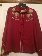 Scully Women's Western Embroidered  Rhinestone Maroon Snap Up Shirt Sz xxl -MINT