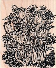 New NORTHWOODS RUBBER STAMP Spring tulips Gerber daisy flowers Free USA ship