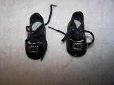 Vintage Black Oil Cloth Tie Shoes w/ Buckle for (M) Doll