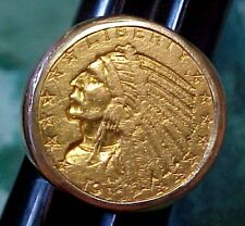MENS VINTAGE 14K RING W/ GENUINE 1910 5 DOLLAR INDIAN U.S.GOLD COIN SIZE 10-1/2