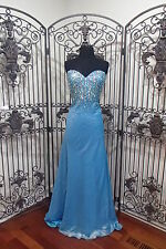 S304 MAGGIE SOTTERO FLIRT P5835 AQUA   SZ 12  PROM FORMAL PAGEANT DRESS GOWN