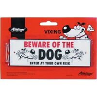 BEWARE OF THE DOG – ENTER AT YOUR OWN RISK PLASTIC WARNING SIGN– NEW–WITH SCREWS