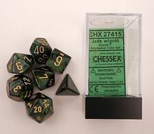 Chessex Polyhedral 7 Die Scarab Jade w/ Gold Numbers Dice Set of 7 CHX 27415