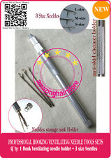 3 Hooking Ventilating Needle With Holder Making/Repair Lace Wig Toupee Hairpiece