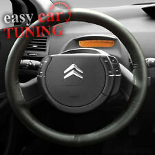FOR CITROEN C4 2004 + BLACK REAL GENUINE LEATHER STEERING WHEEL COVER