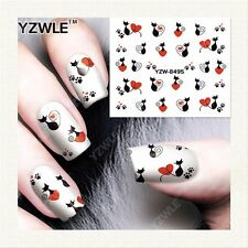 Valentines Nail Art Water Decals Stickers Love Hearts Cats Paw Prints (8495)