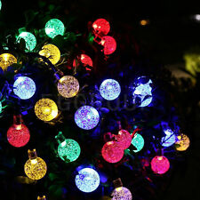7M 50LED Solar Power Crystal Globes Ball String Lights Xmas Home Party Dec Bulb