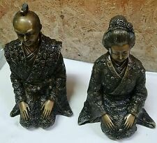Pair of Bronze Japanese Samurai & Geisha Kneeling Statues