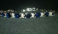 genuine blue sapphire tennis bracelet 12tcw 14k white gold filled 7 1/2""