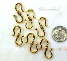 TierraCast S Hook Clasps, Classic S Hooks, Gold Plate Pewter, 6 Pieces, 4726