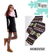 Womans Nordish Fashion Patterned Leggins American Indian Tribal Double Warm NEW