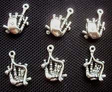 6 Scottish Bagpipes Charms Silver Tone Metal