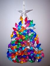 60 MEDIUM TWIST BULBS 9 Colors LARGE CLEAR STAR Ceramic Christmas Tree Lights