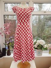 STUNNING!! *LAURA ASHLEY* RED & WHITE GINGHAM 100% COTTON 50's TEA DRESS Sz 8