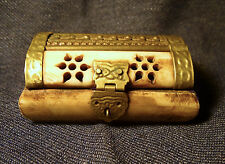 Rare Early Vintage 1920's Bone and Brass Jewelry Trinket Ring Box India EUC