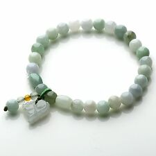 Natural Grade A Jadeite Jade Round Beads Link Knitted Bracelet & Pixiu Pendant