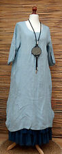"LAGENLOOK LINEN 2 POCKETS LONG TUNIC-DRESS*PALE BLUE*BUST UP TO 44"" OSFA ITALY"