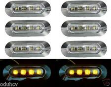 8x LED 12V Side Amber Marker Lights Lamps Truck Bus Lorry LKW Camper Van Chrome