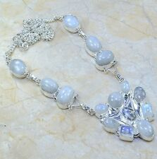 """Fire White Rainbow Moonstone Opal Pure 925 Sterling Silver 20.75"""" Necklace A9552"""
