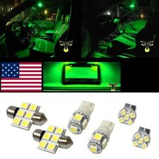 6 Green LED interior lights package T10 & 31mm map dome + license plate lamp G1G