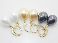 wholesale 3 pairs 12X16MM White Yellow Black Shell Pearl Drop Earrings LL009