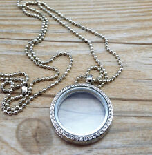 30mm round  Living Memory Crystal Floating Necklace Charm Silver Locket Jewelry