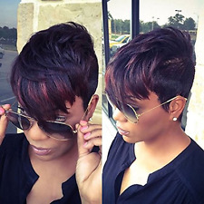 AISI HAIR Synthetic Short Wigs for Black Women Pixie Cut Wig Two Tone Color Blac