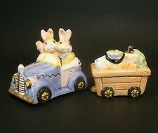 Vtg Fitz & Floyd Bunny Rabbits Salt Pepper Shakers Eggspress Painting 1993 HTF