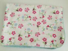 Blue White Baby Blanket Pink Butterfly Ladybug Sherpa Plush Security Flowers