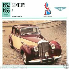 BENTLEY R 1952 1955 CAR VOITURE Great Britain GRANDE BRETAGNE CARTE CARD FICHE