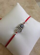 Sterling Silver 925 Crystal Cz Gold Hamsa Evil Eye Bracelet Red String Kabbalah.