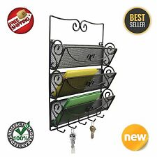 Wall Mount 3 Tier Bronze Home Office Organizer Rack Mail Letter Key Holder New