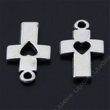 20x Retro Tibetan Silver Love heart Cross Pendant Charms Beads Accessories B462P