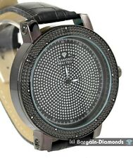 mens diamond giant 60 mm gunmetal hip hop ice out watch clubbing bling warranty