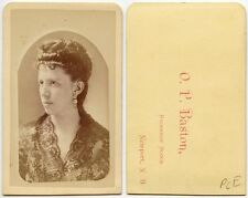 YOUNG LADY W/ BEAUTIFUL DRESS BY BASTON, NEWPORT, N.H., ANTIQUE CDV