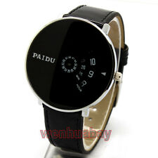 Fashion Black Band PAIDU Quartz Wrist Watch Turntable Hour Men Male Gift Q0863
