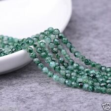 6MM Genuine Natural Faceted Green Emerald Round Gemstone Loose Beads 15'' AAA