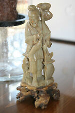 Vintage Chinese Hand Carved Soap Stone Sculpture Fisherman, Skilled Carving 8""