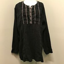 Flax L Linen Black White Lagenlook Womens Tunic Shirt Casual Comfortable Large
