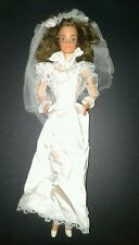 Vintage 1982 Tracy Bride Barbie Doll Wedding white satin & lace dress veil  TLC