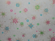VINTAGE ATOMIC CHRISTMAS DEPARTMENT STORE WRAPPING PAPER 2 YARDS GIFT WRAP SNOW